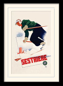 """Italia Sestriere """"Vintage Advert"""" Mounted and Framed Print, Multi-Colour, 30 x 40 cm"""