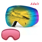 Ski Goggles, Over Glasses Snowboard Goggles for Men, Women, Youth or Kids - UV400 Protection and Anti-Fog - Double Grey Spherical Lens Comfortable for Skating Skiing Snowmobiles