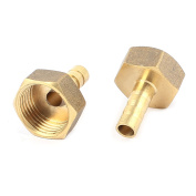 """1/2""""PT Thread to 8mm Dia Tube Brass Pneumatic Hose Barb Coupler Connector 2pcs"""