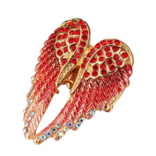 Dosige Women Jewellry Fashion Angel Wings Open Ring Crystal Wedding Band for Women,Red