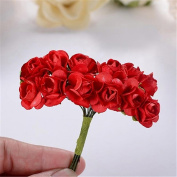 bismarckbeer 12 Bouquets Mini Artificial Roses DIY Craft Gift Candy Box Decor