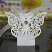 bismarckbeer 20Pcs Butterfly Hollow Chocolate Candy Gift Boxes Wedding Party Favours Gift Bags with Ribbons