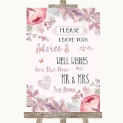 Blush Rose Gold & Lilac Collection Blush Rose Gold & Lilac Guestbook Advice & Wishes Mr & Mrs Wedding Sign