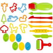 Faburo 23 pcs Play Dough Tools Set Dough Clay Cutters kit with Moulds, Plastic Art Clay For Children Ages 3+