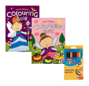 Invero® Set of 2 Girls Children's Kids Colouring Books features 72 Pages of Individual Pictures Complete with Set of 30 Pack Colouring Pencils