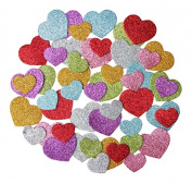 Glitter Foam Hearts Stickers, Self Adhesive, 100 Assorted Sizes And Colours For Craft