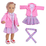 Momola Our Generation 46cm American Girl Doll Clothing Set 4Pcs Student Pleated Skirt+Coat+Shirt+Tie School Uniform, Dolls Outfits, Girls Pretend Play Toy Gifts