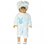 Momola Our Generation 46cm American Girl Doll 2Pcs Lovely Clothing Set Bunny Jumpsuit+Cap Pyjama, Dolls Outfits, Girls Pretend Play Toy Gifts