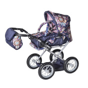 """Knorr Toys Knorr63178 """"Combi Ruby"""" Blue Flowers Dolls Pram and Buggy"""