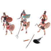 MagiDeal Pack of 6 Ancient Roman Gladiator Mediaeval Warriors Soldier Figure Models Toy Collectibles Desktop Decoration