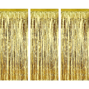 3 Pack Metallic Tinsel Curtains, Foil Fringe Shimmer Curtain Door Window Decoration for Birthday Wedding Party