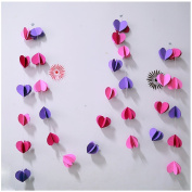 Raylinedo® 1X Rose Pink And Purple Paper Garland For Wedding Birthday Anniversary Party Christmas Girls Room Decoration Heart Shape3D