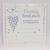 Wedding Evening Invitation Cards 761. High Quality Silver Foiled and Embossed White Cards and Envelopes. Pack of 10 Cards and Envelopes.