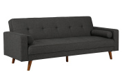 DHP Sunset Hills Futon, Mid Century Design with Tufted Back and Seat, Converts to Sleeper, Grey Linen