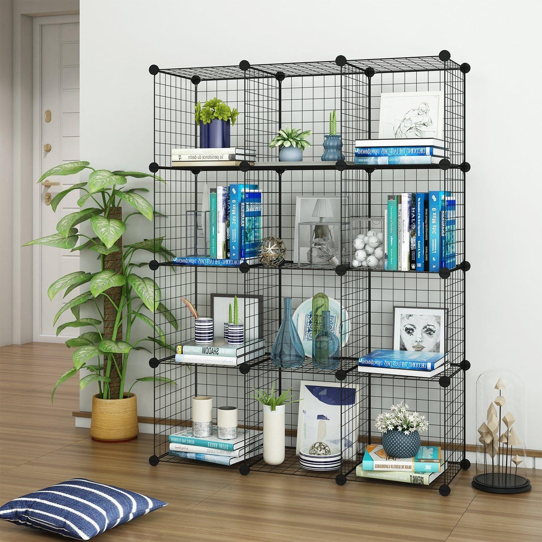 Tespo Wire Cube Storage Shelves Book Shelf Metal Bookcase Shelving Closet  Organisation System DIY Modular Grid Cabinet