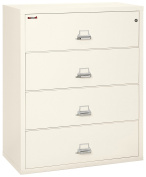 Fireking Fireproof Lateral File Cabinet (4 Drawers, Impact Resistant, Waterproof), 110cm W x 60cm D, Ivory White, Made in USA