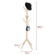 Wood Coat Rack Hall Tree,Natural-Colours Entryway Standing Hat Jacket Coat Hanger Rack,for Bedroom & Living Room