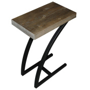 The Lynn C Table / End Table / Laptop Stand, Solid Wood Top w/Black Welded Steel