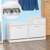Haotian FSR17-W, Shoe Storage Bench with Cushioned Seat and Drawer, Three Tiers Flip-drawer Shoe Cabinet, White