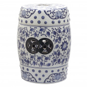 Safavieh Castle Garden's Collection Glazed Ceramic Blue And White Painting Tao Garden Stool