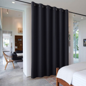 2.7m Tall Room Freestanding Divider - RYB HOME Furniture Protecting Ceiling to Floor Blackout Space Partition Curtain for Pation Sliding Door / Locker Room, 3m Wide x 2.7m Tall, Black , 1 Pcs