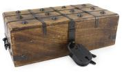 Wooden Treasure Chest Decorative Box Trunk Antique Style Lock Iron Skeleton Key By WellPackBox 12 x 6 x 4