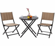 PHI VILLA Indoor Outdoor 3 Pcs Folding Bistro Set- Patio Porch Oversize Padded Dining Chairs and Table Set