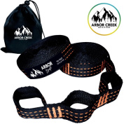 Arbour Straps by Arbour Creek Outfitters - Extra Long Hammock Tree Straps- Portable & Easy Setup- Strong Non-Stretch Triple Stitching- Free Carrying Pouch- 6.1m & 34 Loops Holds 500kg!