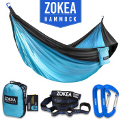 Hammock Double Camping Hammock Portable Parachute Nylon Hammock With Tree Straps & Carabiners For Hiking, Backpacking, Camping, Travel, Beach, Yard, 270kg