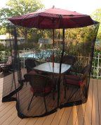 Patio Umbrella Mosquito Netting - Polyester Mesh Screen with Zipper Opening and Water Tube at Base to Hold in Place - Helps Protect from Mosquitoes - Fits 2.7m Umbrellas and Patio Tables - Black