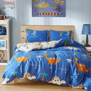 Duvet Cover Set Full/Queen 3 Pieces Reversible Blue Dinosaur Stegosaurus Pattern Boys Girls Bedding Set with 2 Pillow Cases Best Bedding Gifts for Kids Adults - without Comforter