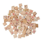 Nibito 100X Wooden Scrabble Tiles Colourful Letters Numbers For Crafts Wood Alphabet Toy