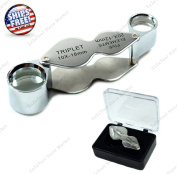 ZaZaTool - 10x 20x Triplet Jewellers Loupe Foldable magnifier + Case