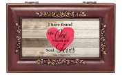 My Soul Loves Heart Song of Solomon 3:4 Rose Wood Finish Jewellery Music Box Plays Canon in D