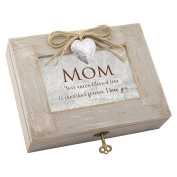 Mom Unconditional Forever Distressed Wood Locket Jewellery Music Box Plays Tune Wind Beneath My Wings