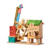 YULAN-Home wooden penholder colour windmill,idyllic windmill rotating music box.