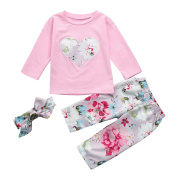 CHshe Baby Clothing Set, Newborn Toddler Girls Heart Flower Print Top+Flower Print Pant Headband Outfit For 0-24 Months