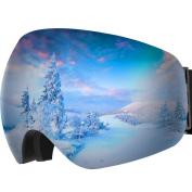 Ski Goggles, OMorc Anti-fog 100%UV400 Protection OTG Over Glasses Snowboarding Goggles, 180°Super-wide Angle Big Spherical Dual-layer Lens Snowmobile Ski Glasses for Men and Women