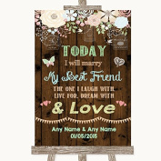 Rustic Floral Wood Wedding Sign Collection Rustic Floral Wood Today I Marry My Best Friend Wedding Sign