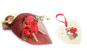Hand Tied Scented Bath Soap Flowers Red Rose Valentine Bouquet With Love Heart Hanging Plaque