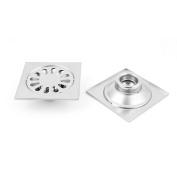 Unique Bargains Kitchen Bathroom Stainless Steel Floor Drain Filter Stopper Grate Strainer 2pcs