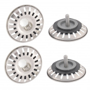 Unique Bargains Metal Filter Basket Kitchen Bathroom Sink Drain Strainer Screen Stopper 4PCS