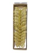 12 Gold Glitter Clip On Mesh Butterflies 10cm