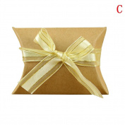 Sunsline Kraft Paper Pillow Shape Wedding Party Candy Boxes