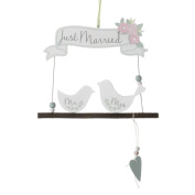 Heaven Sends Just Married Mr And Mrs Birds Hanging Sign (25 x 19 x 0.5cm)