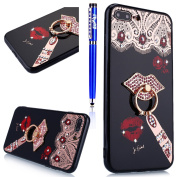 Fesele Tpu Silicone Case for iPhone 6s/iPhone 6] [Red Ierendem Ring Fingerhalterung Stand] Bling Diamond Glitter Butterfly and Flower Soft TPU Thermoplastic Polyurethane Plastic Gel Shin Ning Protective Silicone Stand Black Case for iphone 6S/IPHONE 6 ..