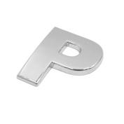 sourcingmap Silver Tone Metal P Letter Shaped Car Auto Exterior Emblem 3D Sticker Decor