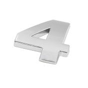 sourcingmap Silver Tone Metal 4 Digital Shaped Car Exterior Emblem Badge 3D Sticker Decor