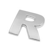 sourcingmap Silver Tone Metal R Letter Shaped Car Auto Exterior Emblem 3D Sticker Decor
