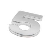 sourcingmap Silver Tone Metal 5 Digital Shaped Car Exterior Emblem Badge 3D Sticker Decor